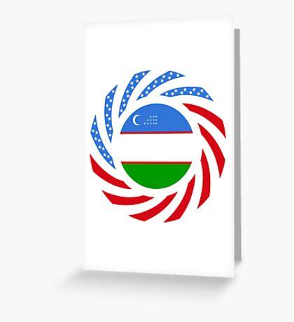 Uzbekistani American Multinational Patriot Flag Series Greeting Card