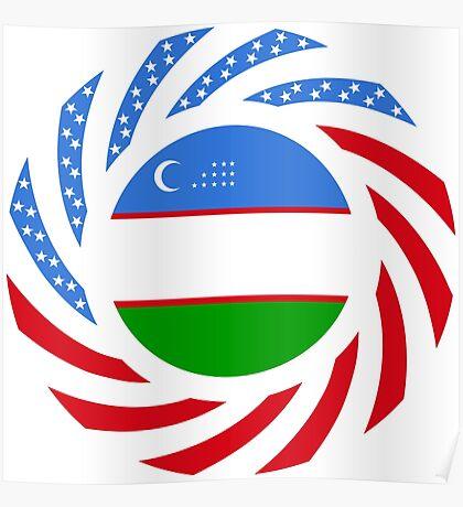 Uzbekistani American Multinational Patriot Flag Series Poster