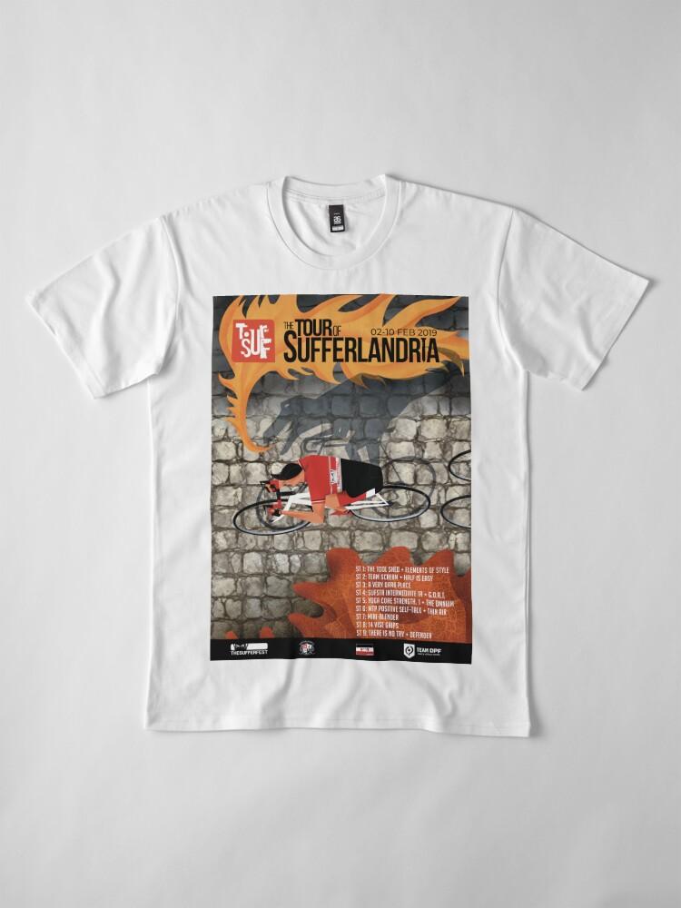 Alternate view of Tour of Sufferlandria 2019 Poster - Male Rider Premium T-Shirt