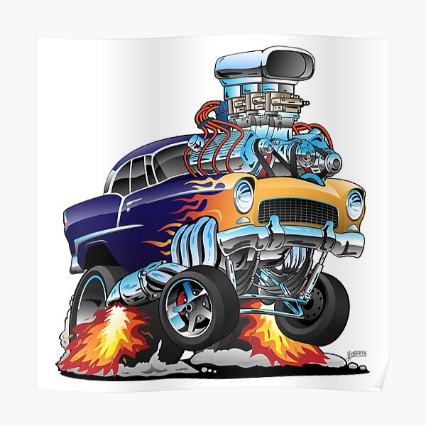 Classic Fifties Hot Rod Muscle Car Cartoon Poster
