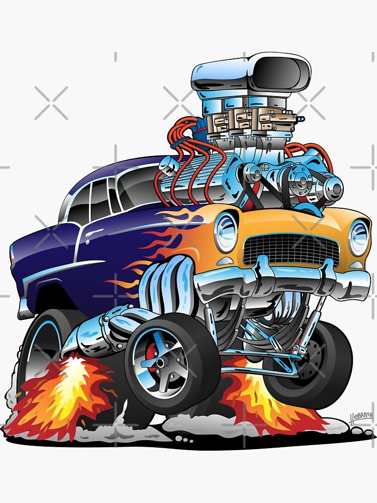 Classic Fifties Hot Rod Muscle Car Cartoon by hobrath