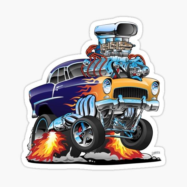 Classic Fifties Hot Rod Muscle Car Cartoon Sticker