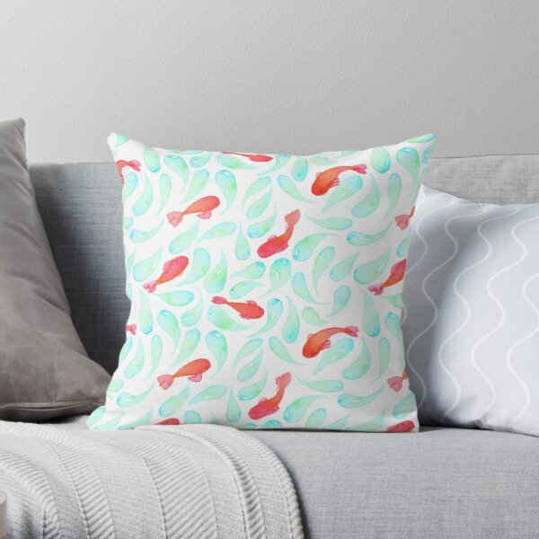 Hand Painted Koi Pattern- Watercolor Fish Throw Pillow