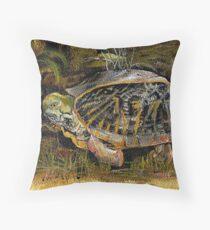 Backyard Turtle Throw Pillow