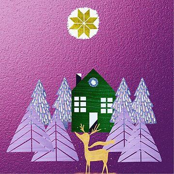 winter wonderland, modern,trendy,purple,abstract art, metallic,green,elegant,mixed media,beautiful,digital art by love999