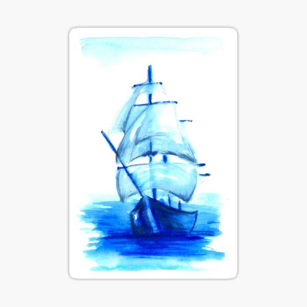 Tall Blue Ship Sticker