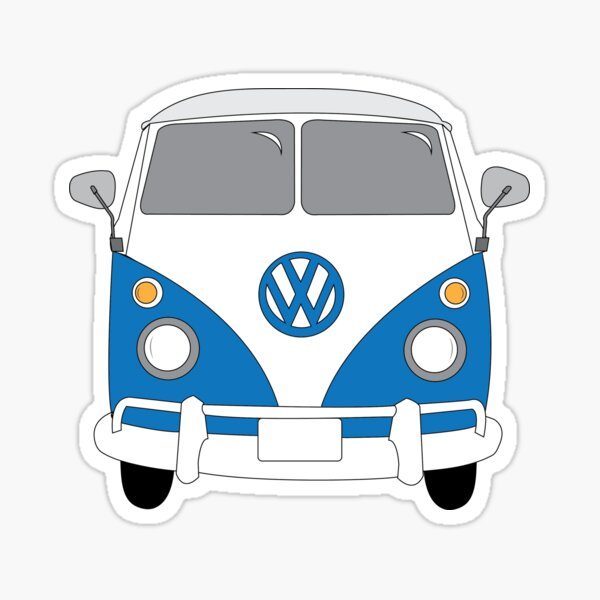 Blue VW Bus Sticker