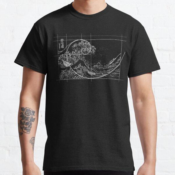 Hokusai Meets Fibonacci, Golden Ratio, White Line Classic T-Shirt