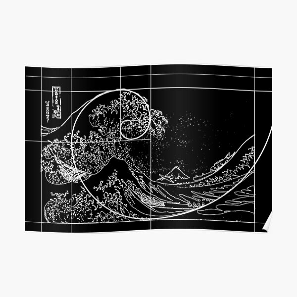 Hokusai Meets Fibonacci, Golden Ratio, White Line Poster