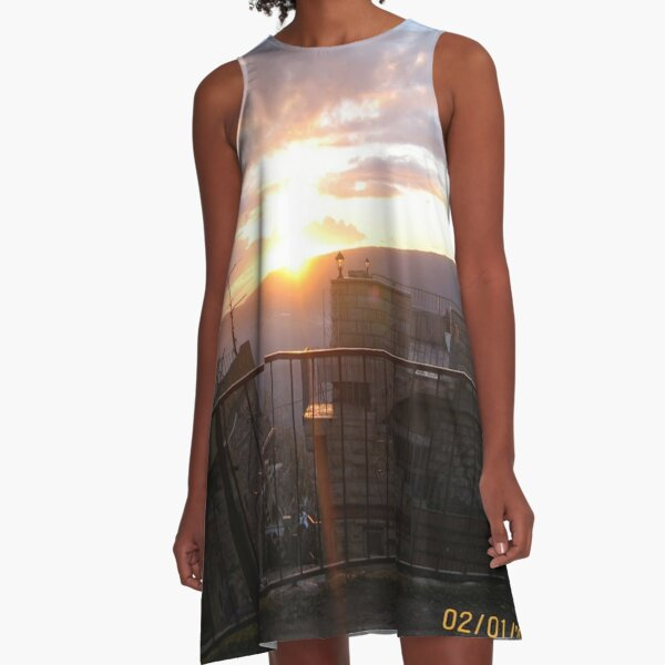 #town, #morning, #house, #sunlight, #tree, #sunset, #outdoors, #architecture A-Line Dress
