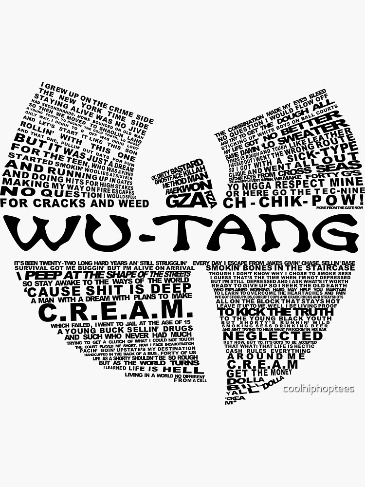 CREAM Lyrics Wu Hip Hop T-Shirt by coolhiphoptees