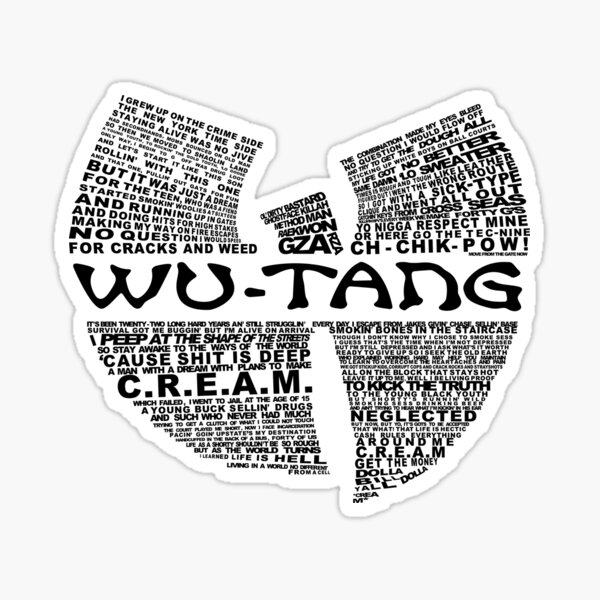 CREMA Lyrics Wu Hip Hop Camiseta Pegatina