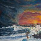 Woman on a Stormy Beach at Sunset by Melissa J Barrett