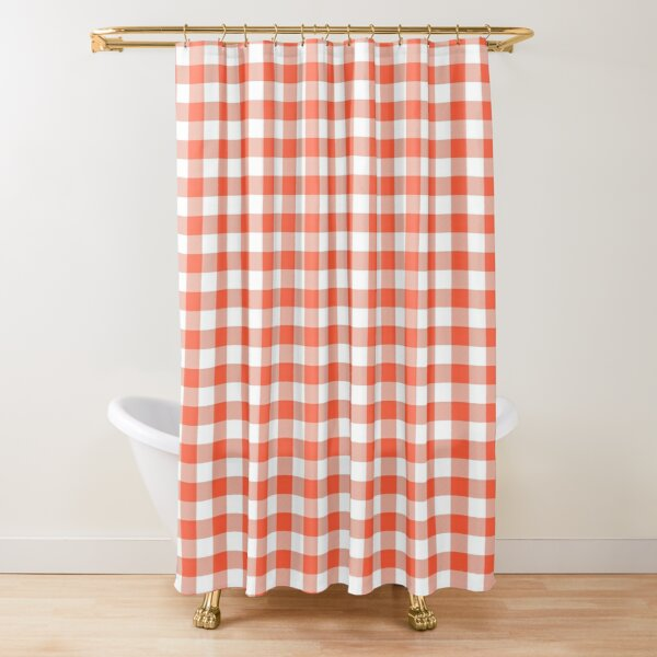 Living Coral Color of the Year Orange and White Buffalo Check Plaid  Shower Curtain