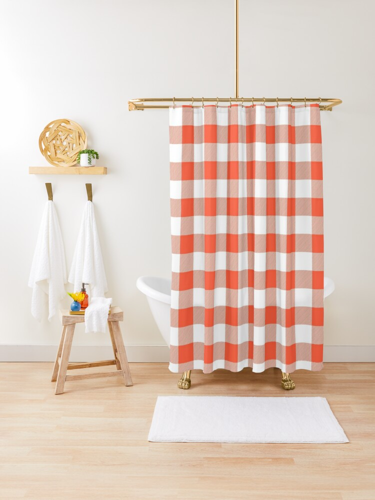 jumbo living coral color of the year orange and white buffalo check plaid shower curtain by podartist redbubble