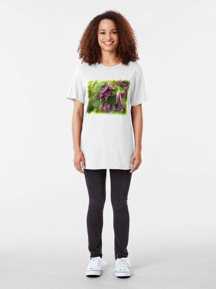 Alternate view of Purple Iochroma Flowers Slim Fit T-Shirt