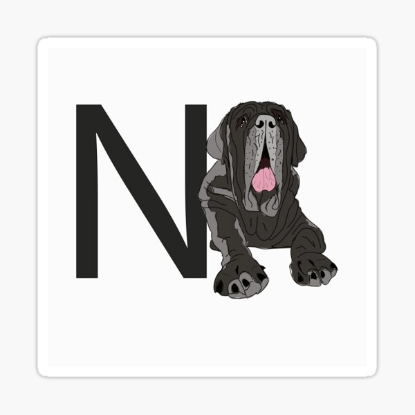 N is for Neapolitan Mastiff Dog Sticker