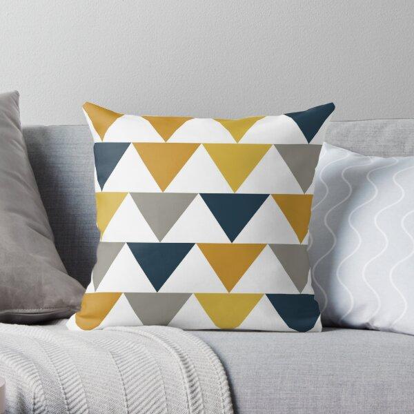Flèches: motif géométrique jaune moutarde clair, jaune moutarde foncé, bleu foncé, gris et blanc Coussin