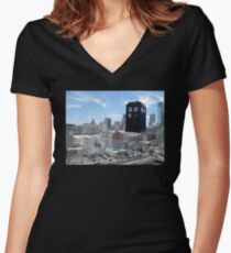 TARDIS Over Philly Women's Fitted V-Neck T-Shirt
