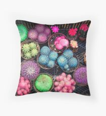Cactus rainbow Throw Pillow