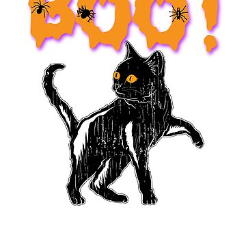 Boo! Black Cat Halloween Holiday T shirt by we1000