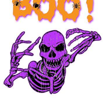 Boo! Creepy Skeleton Halloween Holiday T shirt by we1000