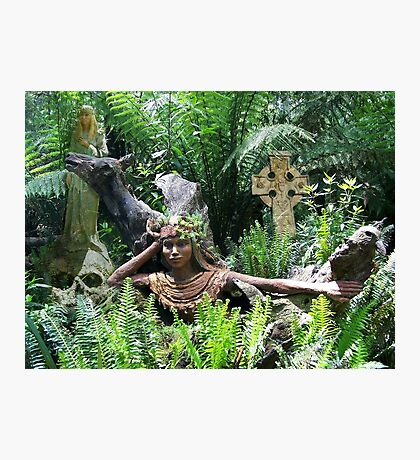 Celtic Goddesses and cross Photographic Print