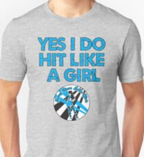 Yes I Do Hit Like A Girl Slim Fit T-Shirt