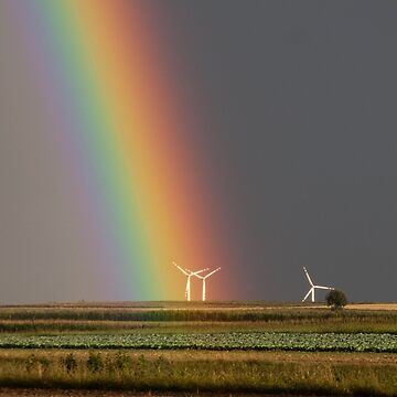 Rainbow over a wind farm by franceslewis