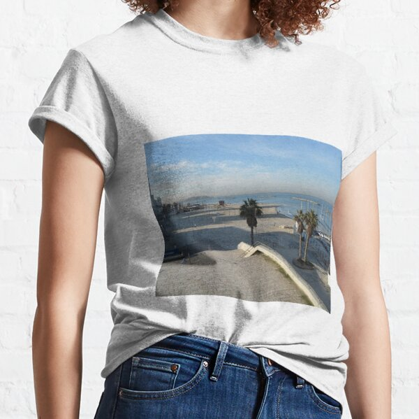 #water, #beach, #sea, #travel, #landscape, #sky, #tree, #city, #tourism, #Seaside #resort Classic T-Shirt