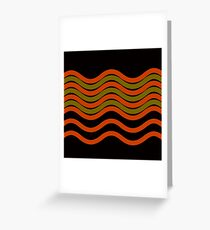 Waves Red Olive Green Black Greeting Card