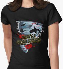 Shark Tornado - Shark Cult Movie - Shark Attack - Shark Tornado Horror Movie Parody - Storm's Coming! Womens Fitted T-Shirt