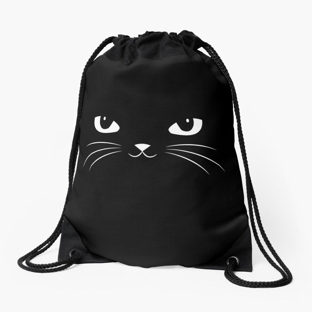 Cute Black Cat Drawstring Bag