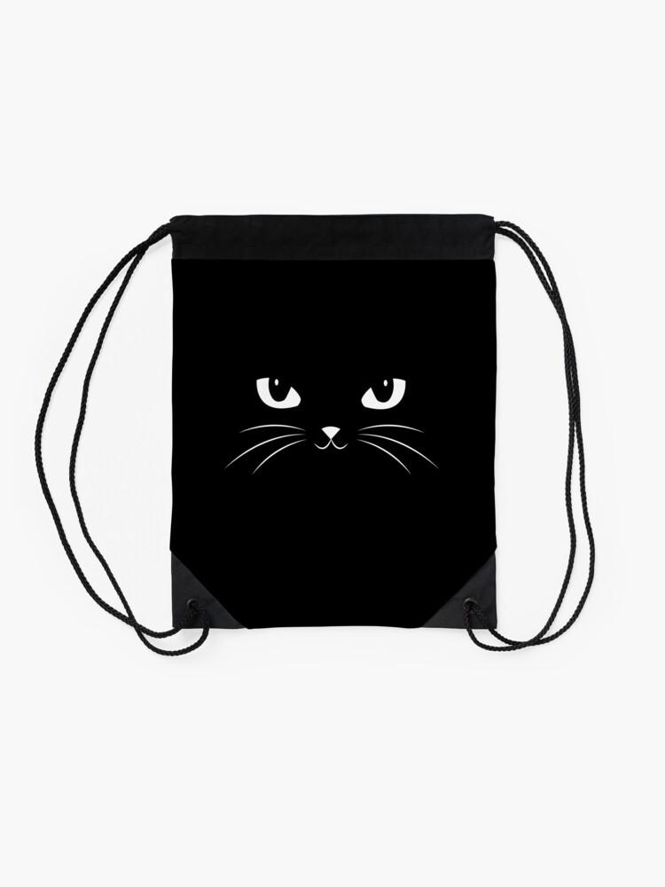 Alternate view of Cute Black Cat Drawstring Bag