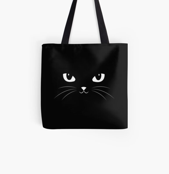 Cute Black Cat All Over Print Tote Bag