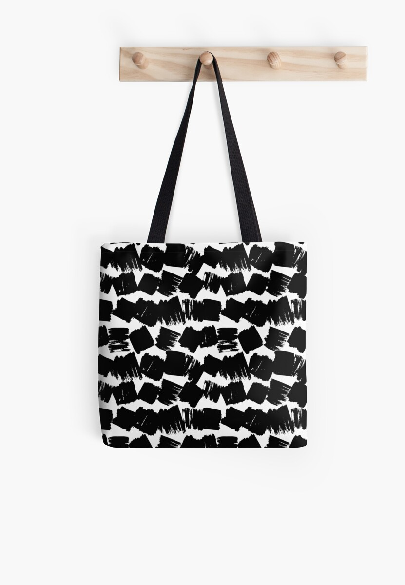 Scandinavian Abstract grunge pattern retro style, paint strokes, black on white by EkaterinaP