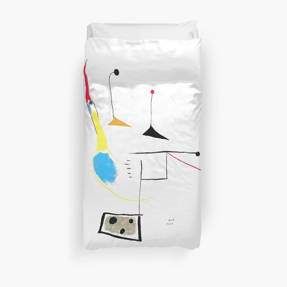 Joan Miro Painting On White Ground, 1927 Artwork, Prints, Posters, Tshirts, Bags, Men, Women, Kids Duvet Cover