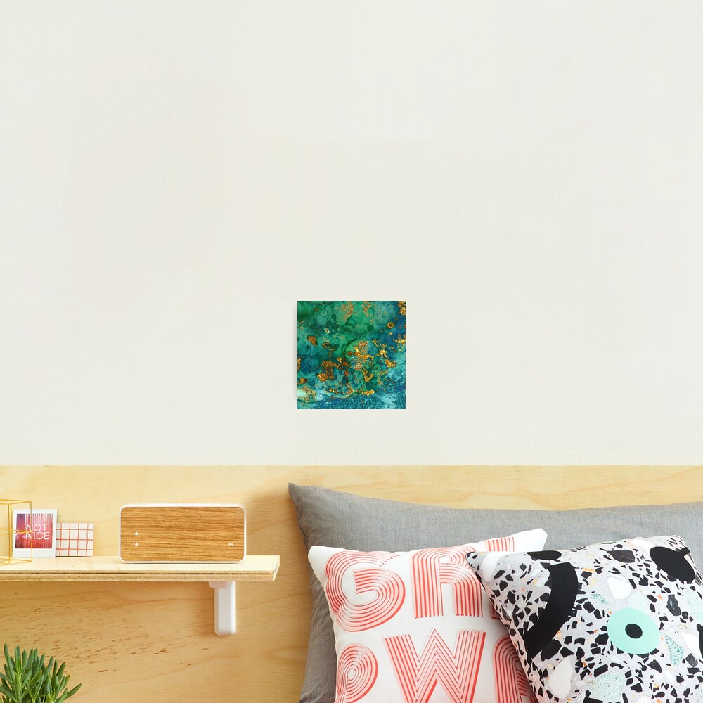 Sparkling Gold Glitter on Green and Blue marble Photographic Print