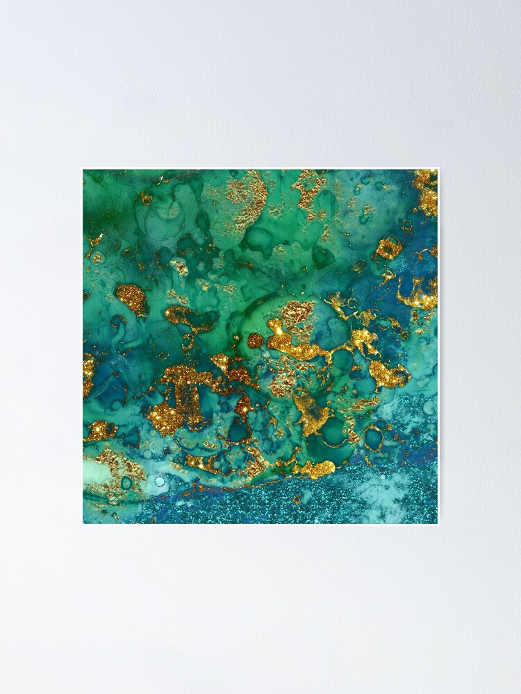 Alternate view of Sparkling Gold Glitter on Green and Blue marble Poster