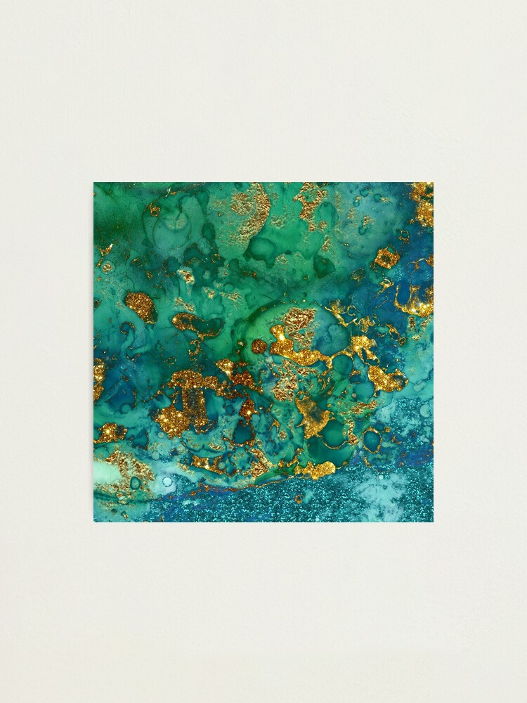 Alternate view of Sparkling Gold Glitter on Green and Blue marble Photographic Print