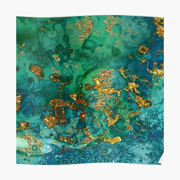 Sparkling Gold Glitter on Green and Blue marble Poster