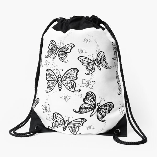 Just Add Colour -Butterfly Sparkle Drawstring Bag
