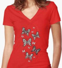 Just Add Colour -Butterfly Sparkle Fitted V-Neck T-Shirt