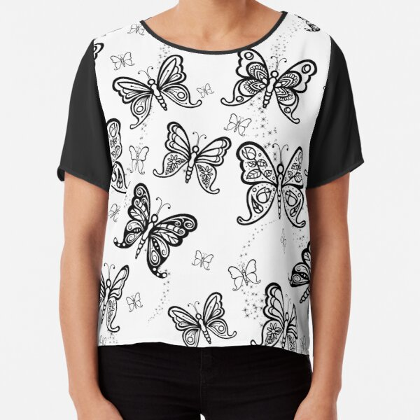 Just Add Colour -Butterfly Sparkle Chiffon Top