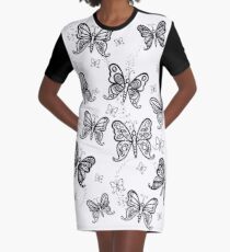 Just Add Colour -Butterfly Sparkle Graphic T-Shirt Dress