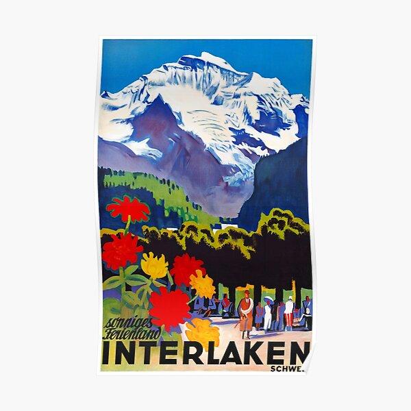 Switzerland Interlaken Vintage Travel Poster Restored Poster