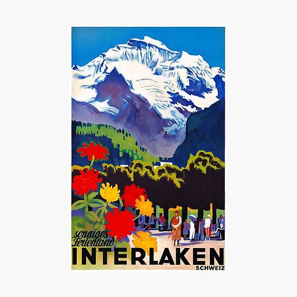 Switzerland Interlaken Vintage Travel Poster Restored Photographic Print