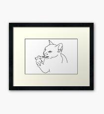 Smoking cat Framed Print