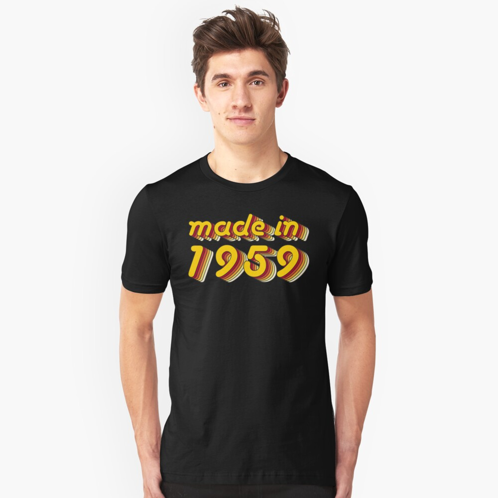 Made in 1959 (Yellow&Red) Unisex T-Shirt Front