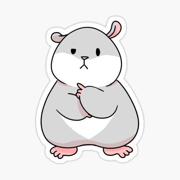 Tam the Tiny Hamster, thinking face. Sticker